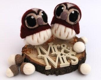 Mini Owl Wedding Cake Topper Tawny Owl Pair in Chestnut Brown Felt Birds