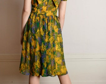 Vintage 1960s Floral Chiffon Dress - Spring Garden Party Mustard Yellow Dress - Medium