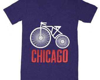 V-neck Chicago Bike - Unisex Mens Womens T-shirt Indie Hipster Midwest Bicycle Cyclist Wheel Tee Illinois Shirt Windy City Vneck T-shirt