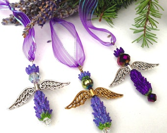 Lavender Glitter Glass Bead Angels Set of 3 Your Choice of Colors