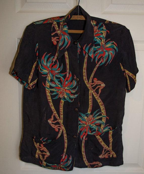 Sale rare vintage 40s 50s mens hawaiian rayon shirt for Mens rayon dress shirts