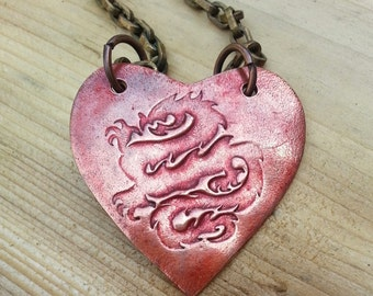 "Ancient Red Dragon Tattoo Heart Shaped Copper Pendant on an antiqued brass chain, large format 2"" diameter heart, Maureen Gallagher Jewelry"