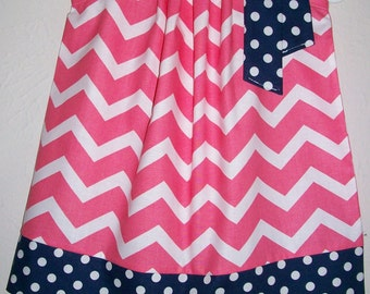 Pillowcase Dress Chevron Dress Coral and Navy Blue baby dresses toddler dresses girls dresses Kids clothes Spring Dresses for Girls