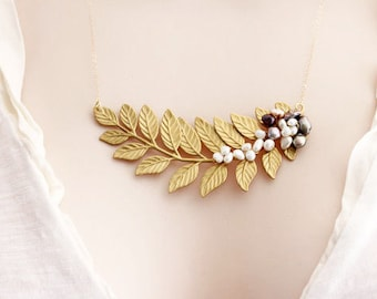 Gold Leaf Necklace Leaf Wedding Necklace Pearl Leaf Necklace Pearl Necklace, Leaf Branch Necklace