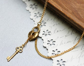 Key and Heart Lock Gold Lariat Necklace, Key To My Heart  Necklace, Steampunk Necklace, Key Necklace, Love Necklace, Valentine Necklace