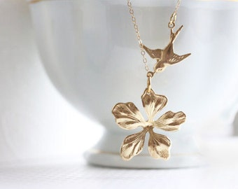 Gold Flower Necklace Small Flower Necklace Bird And Flower Necklace Everyday Necklace