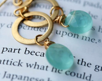 Aqua Earrings Gold Filled Hoops Aquamarine Quartz Earrings Aqua hoops