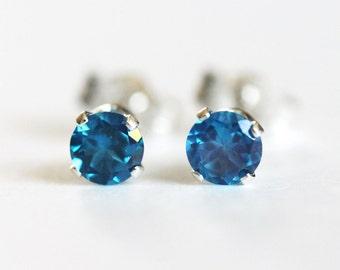 London Blue Topaz Stud Earrings Sterling Silver Genuine London Blue Topaz Gemstones 3mm 4mm 5mm
