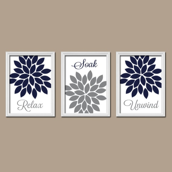 Navy Bathroom Wall Decor : Bathroom decor navy gray wall art by