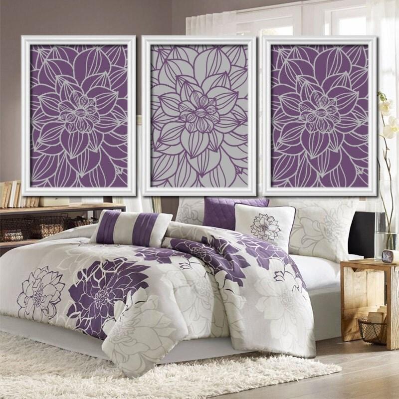 Purple Gray Bedroom Pictures CANVAS Or Prints Bathroom