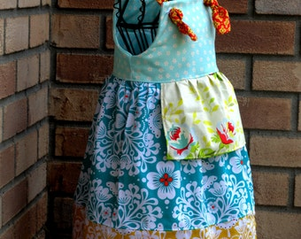 Girls Knot Dress Little Mrs Sunshine in Teal Real and Yellow Roses 5 6 7 8