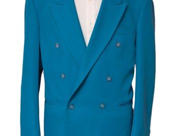 Men's Blazer / Vintage Turquoise Jacket / Double Breasted / Size 42 Large