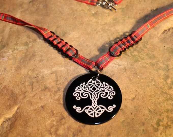 Black Agate Celtic Tree Necklace - Clan Cameron Tartan