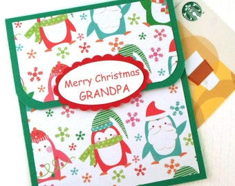 Grandpa Christmas Gift Card Holder - Grandparent Christmas Cards for Money - Gift Card Christmas Card for Grandfather - MPenguin Cards