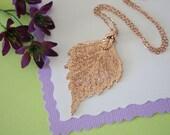 Rose Gold Birch Leaf Necklace, Real Leaf Necklace, Birch Leaf, Birch Leaf, LC39
