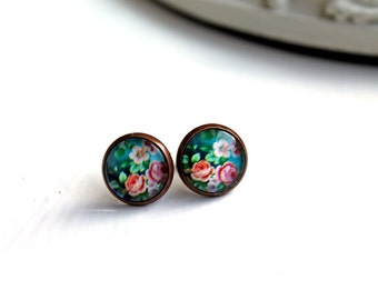 Pretty pink flower rose earrings studs  sweet lolita feminine