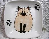 Siamese Himalayan Cat On Square Ceramic Dish Handmade Pet Dish by GMS