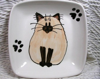 Siamese Himalayan Cat On Square Ceramic Dish Handmade Pet Dish by GMS