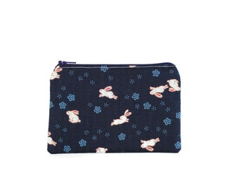 Usagi Rabbit Bag / Japanese Bunny Rabbit Zipper Pouch with Sakura / Rabbit Accessory