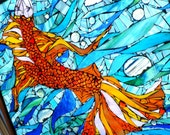 Large Stained Glass Mosaic Fish Orange Blue Underwater Window