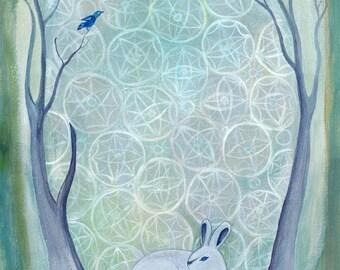 Greeting Card, blank, snow bunny, rabbit, winter, snow