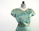1960s Lame Dress • Vintage Lame Dress • Vintage 60s Cocktail Dress • Blue Brocade Dress • Vintage Party Dress • Lame Dress • Brocade Dress