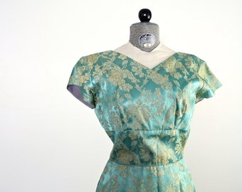 1960s Lame Dress • Vintage Lame Dress • Vintage 60s Cocktail Dress • Blue Brocade Dress • Vintage Party Dress • Lame Dress • Brocade Dress