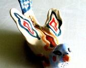 ceramic bird sculpture Charles grey blue red brown bird lovers bird collectibles bird on belly