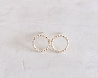 SALE   Lasso Earrings   Silver Circle Post Earrings made with Recycled Silver Twisted Wire   Delicate Jewelry