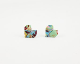 Colorful Floral Origami Heart Post/ Stud Earrings