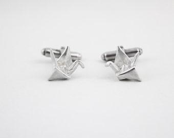 Hand-Folded Silver Origami Crane Cufflinks, Origami Jewelry, Silver Cufflinks, Men's Accessories, Origami Cufflinks, Men's Fashion, Cufflink