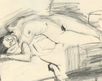 Original Charcoal Life Drawing Gesture Sketch of Nude Female Figure