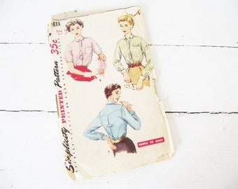 Vintage 1950s Pattern -Blouse - Tailored  34 Bust