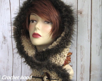 Womens Crochet Hood Pattern With Faux Fur Trim PDF Instant Download Easy To Make