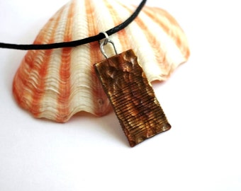 Oxidized Copper Pendant, Mixed Metals, Hammered Indie Men's Necklace Jewelry By Hendywood