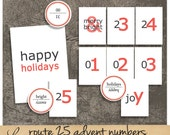 Route 25 White Numbers | Vintage Advent Flashcards | Printable Collage Sheet