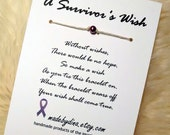 A Survivor's Wish. The Wish Bracelet for Pancreatic Cancer Awareness. Purple Ribbon Edition.