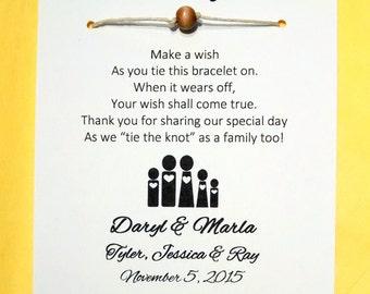 Blended Family - A Wedding Wish - Unity Bead Wish Bracelet Wedding Favor Custom Made
