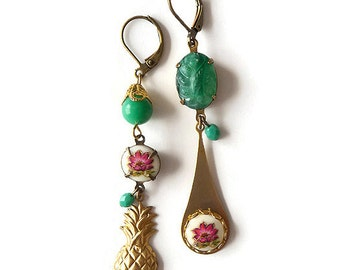 Asymmetric Pineapple Earrings - Asymmetrical Earrings - Mismatched Earrings - Pink Gold Green Earrings - Antilles Earrings (SD0925)