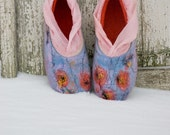 Felted wool slippers Women home shoes - Let It Snow - White Coral Mint