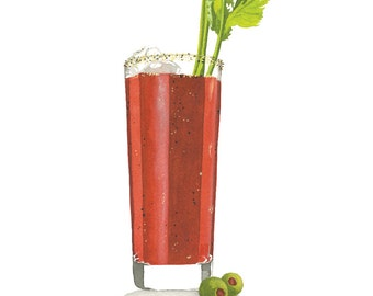 Bloody Mary MidCentury Cocktail Watercolor Print