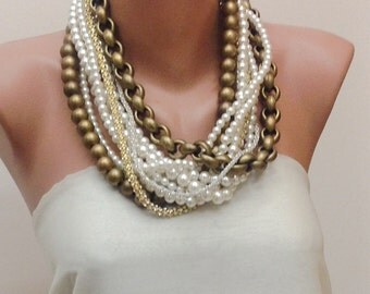 Multi Strand Pearl Necklace Vintage inspired Chunky Layered Pearl Necklace