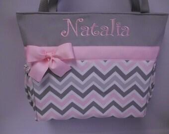 CHEVRON  in Zoom Zoom ... Pink Gray   .. .. Tote  ...   Diaper Bag ... Monogrammed  FReE