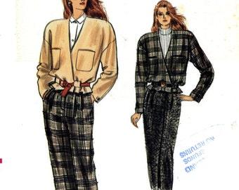 Vogue 9979 Easy Wrap Front Jacket Skirt Pants Size 12 14 16 Uncut Vintage Sewing Pattern 1987