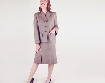 40s Tan & Brown Twilled Wool Detailed Skirt Suit S