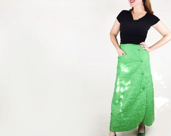 70s Long Green Lounging Skirt with Quilted Fish from Marshall Field S