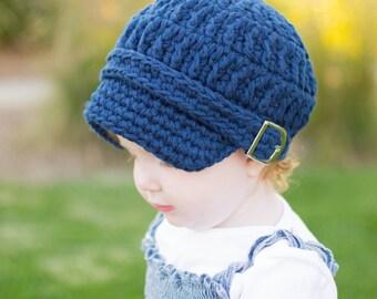 Toddler Newsboy Cap 2T to 4T Toddler Girl Newsboy Hat Toddler Boy Newsboy Crochet Toddler Girl Hat Toddler Boy Hat Navy Blue Toddler Hat