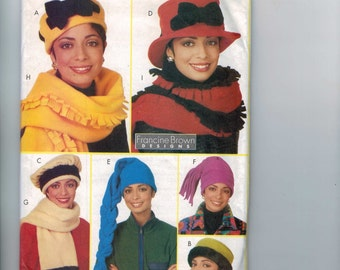 Accessories Sewing Pattern Butterick 4756 Francine Brown Fleece Hats and Scarves UNCUT