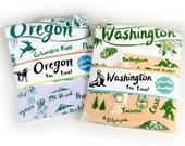 Tea Towel Washington State Peach and Green on White Flour Sack 100% Cotton