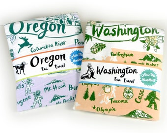Tea Towel Washington State Peach and Green on White Flour Sack 100% Cotton